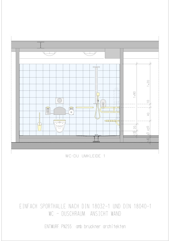 Einfachsporthalle Ansicht Wand WC- Dusche