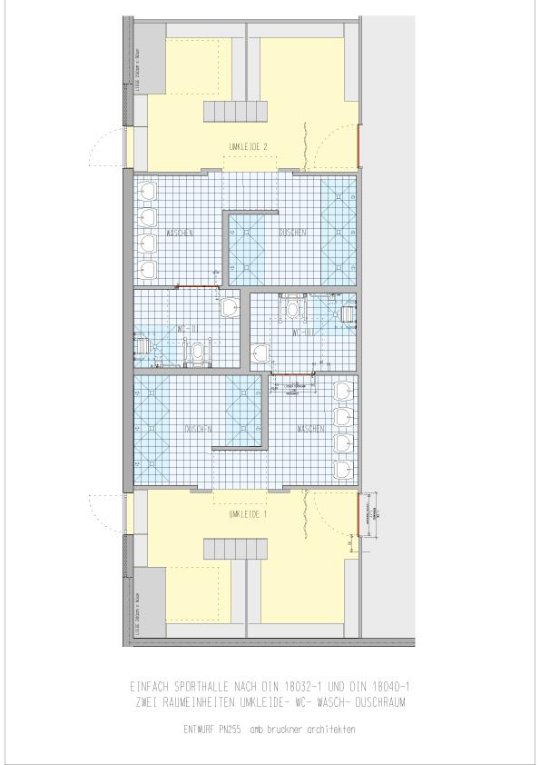 Einfachsporthalle Raumeinheit Umkleide, Dusche, WC