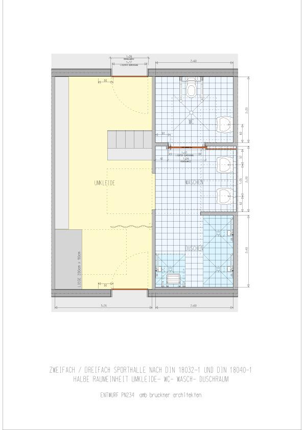 Zwei-/Dreifach- Sporthalle halbe Einheit Umkleide, Dusche, WC