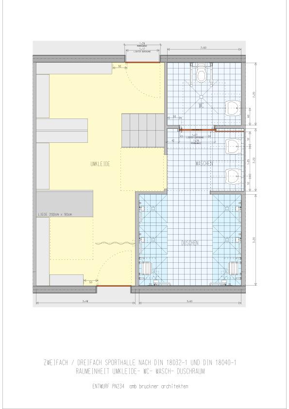 Zwei-/Dreifach- Sporthalle Raumeinheit Umkleide, Dusche, WC